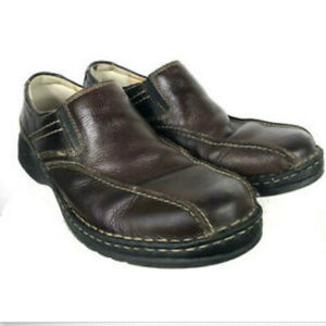 Clarks 10.5 Mens Brown Leather Oiled Loafers Shoes